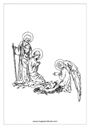 Christmas Coloring Pages - Christmas Coloring Sheets - Mother Mary - Jesus Birth