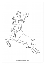 Christmas Coloring Pages - Free Printable Christmas Coloring Sheet - Reindeer Jumping