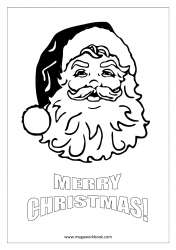 Christmas Coloring Pages - Free Printable Christmas Coloring Sheet- Santa Claus Face