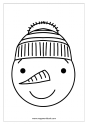 Christmas Coloring Pages - Christmas Coloring Sheets - Snowman Face
