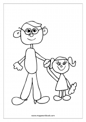 Father's Day Coloring Pages - Little Girl With Daddy