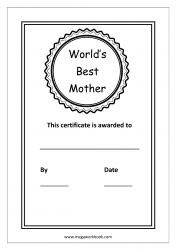 Mother's Day Coloring Pages - Best Mom Certificate - World's Best Mother Award