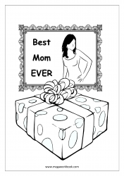 Mother's Day Coloring Pages - Gift And Card - Best Mom Ever Card