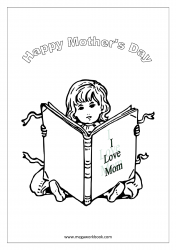 Mother's Day Coloring Pages - Girl Reading Book - I Love Mom
