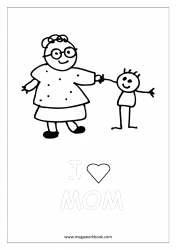 Mother's Day Coloring Pages - Mother And Child