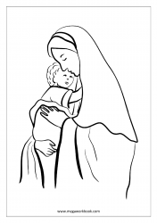 Mother's Day Coloring Pages - Mother Mary With Baby Jesus