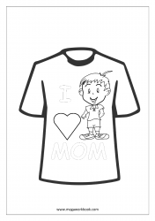 Mother's Day Coloring Pages - T-shirt Quote - I Love Mom