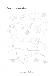 Sea Animals Coloring Pages - Water Animals Coloring Pages
