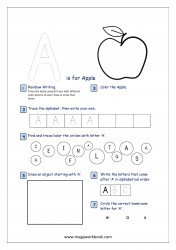 Alphabet Recognition Activity Worksheet - Capital Letter -  A For Apple