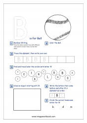 Alphabet Recognition Activity Worksheet - Capital Letter -  B For Ball