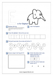 Alphabet Recognition Activity Worksheet - Capital Letter -  E For Elephant