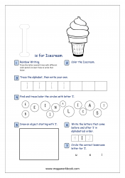 Alphabet Recognition Activity Worksheet - Capital Letter -  I For Icecream