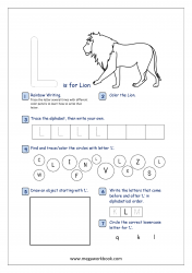Alphabet Recognition Activity Worksheet - Capital Letter -  L For Lion