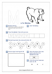 Alphabet Recognition Activity Worksheet - Capital Letter -  M For Monkey