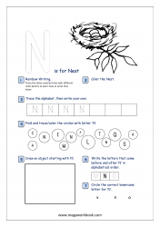Alphabet Recognition Activity Worksheet - Capital Letter -  N For Nest