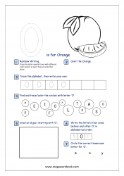 Alphabet Recognition Activity Worksheet - Capital Letter -  O For Orange