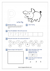 Alphabet Recognition Activity Worksheet - Capital Letter -  P For Pig