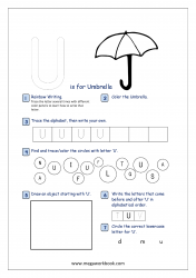 Alphabet Recognition Activity Worksheet - Capital Letter -  U For Umbrella