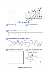 Alphabet Recognition Activity Worksheet - Capital Letter -  X For Xylophone