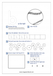 Lowercase Alphabet Recognition Activity Worksheet - Small Letter - b for ball