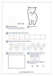 Lowercase Alphabet Recognition Activity Worksheet - Small Letter - c for cat