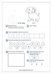 Lowercase Alphabet Recognition Activity Worksheet - Small Letter - d for dog