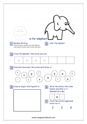 Lowercase Alphabet Recognition Activity Worksheet - Small Letter - e for elephant
