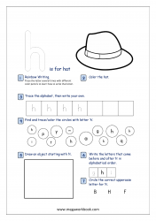 Lowercase Alphabet Recognition Activity Worksheet - Small Letter - h for hat