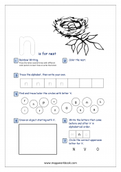 Lowercase Alphabet Recognition Activity Worksheet - Small Letter - n for nest