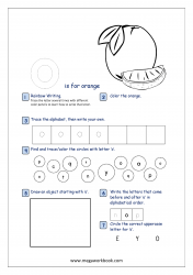 Lowercase Alphabet Recognition Activity Worksheet - Small Letter - o for orange