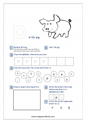 Lowercase Alphabet Recognition Activity Worksheet - Small Letter - p for pig