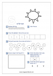 Lowercase Alphabet Recognition Activity Worksheet - Small Letter - s for sun