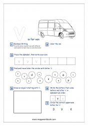Lowercase Alphabet Recognition Activity Worksheet - Small Letter - v for van
