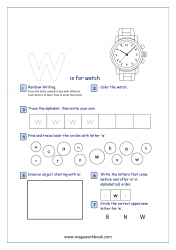 Lowercase Alphabet Recognition Activity Worksheet - Small Letter - w for watch