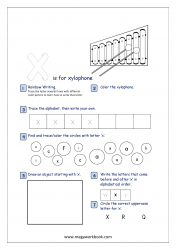 Lowercase Alphabet Recognition Activity Worksheet - Small Letter - x for xylophone