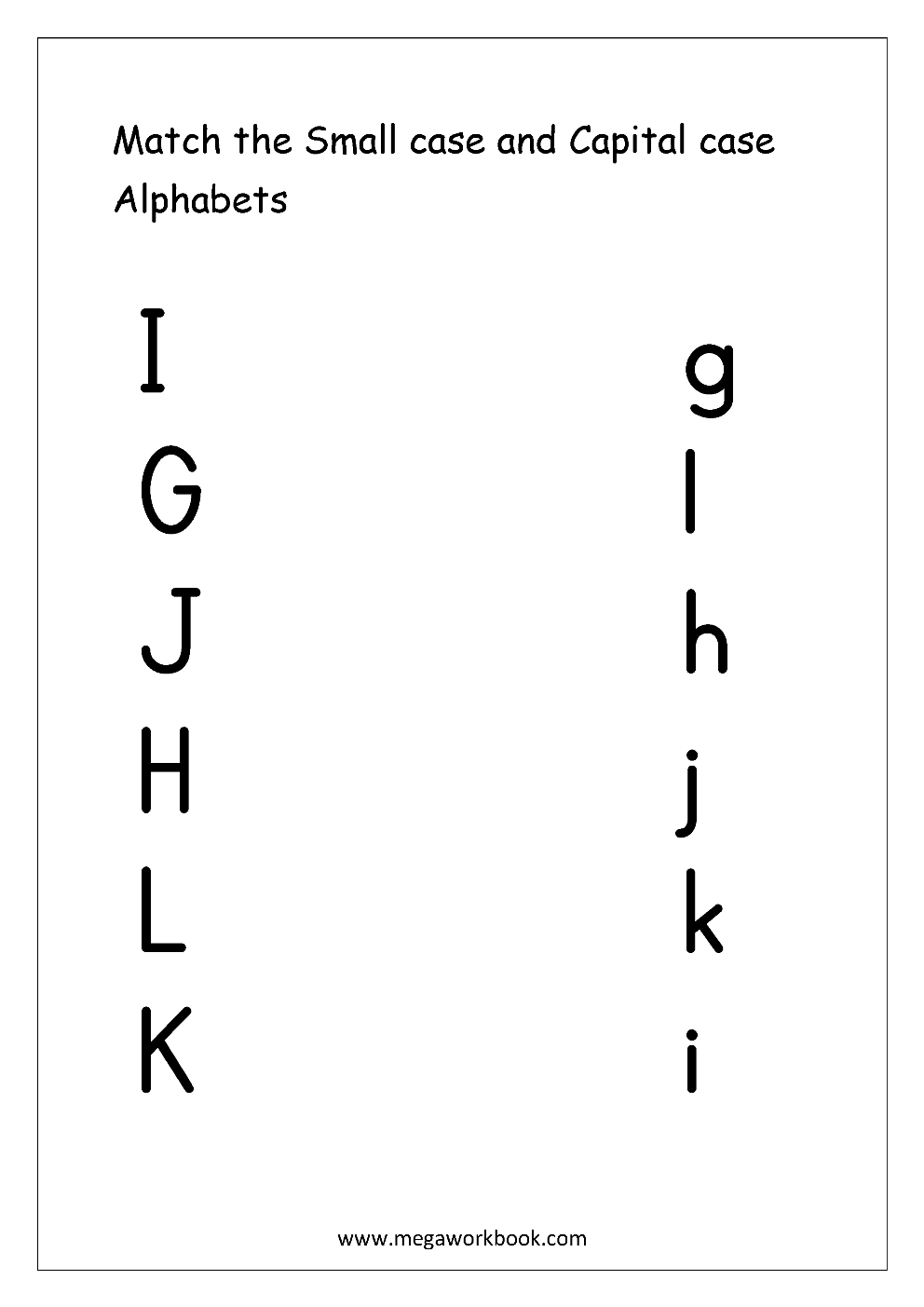 Workbooks matching letters worksheets : Free English Worksheets - Alphabet Matching - MegaWorkbook