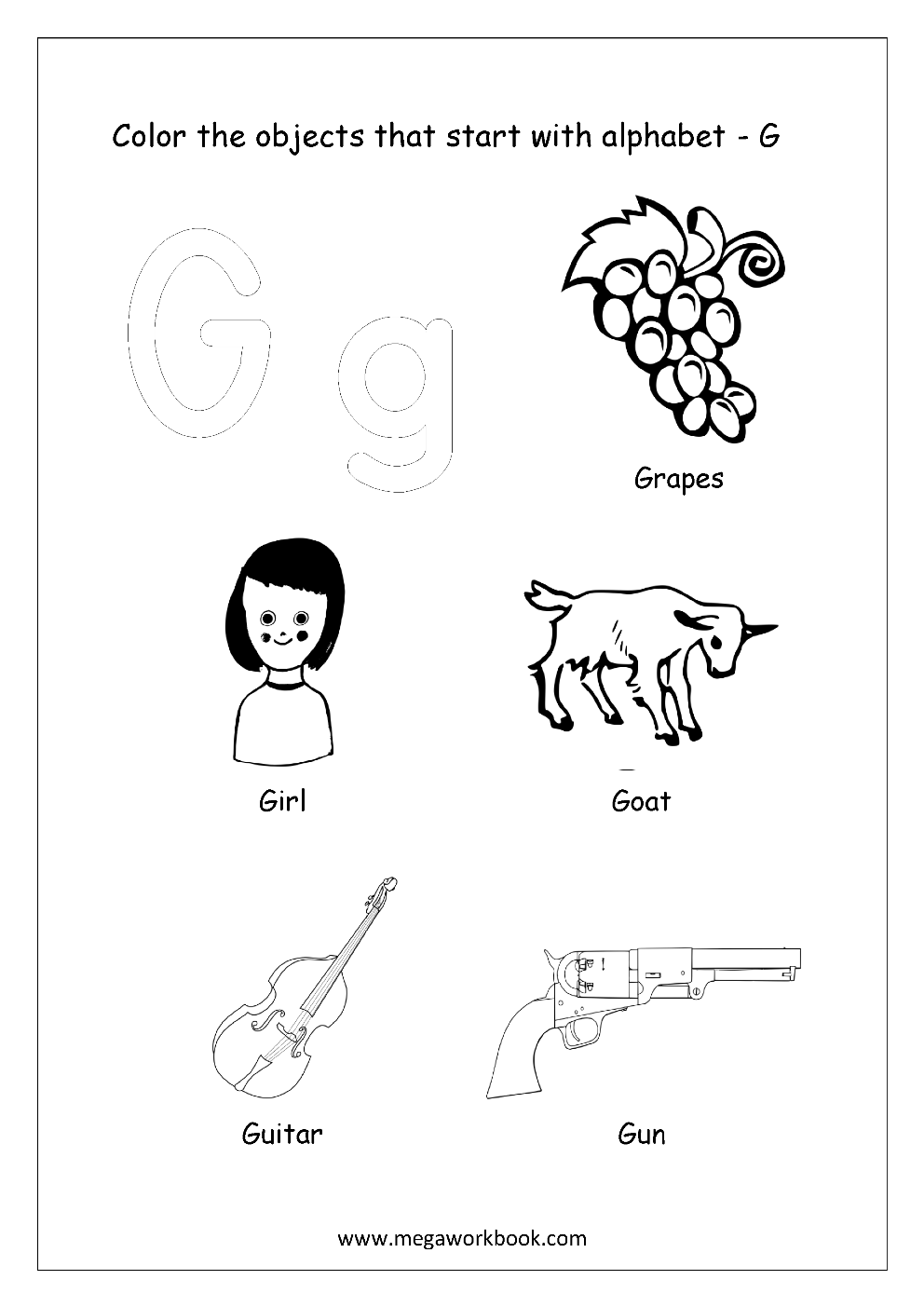Alphabet Picture Coloring Pages Things That Start With Each Alphabet Free Printable Kindergarten Worksheets Megaworkbook