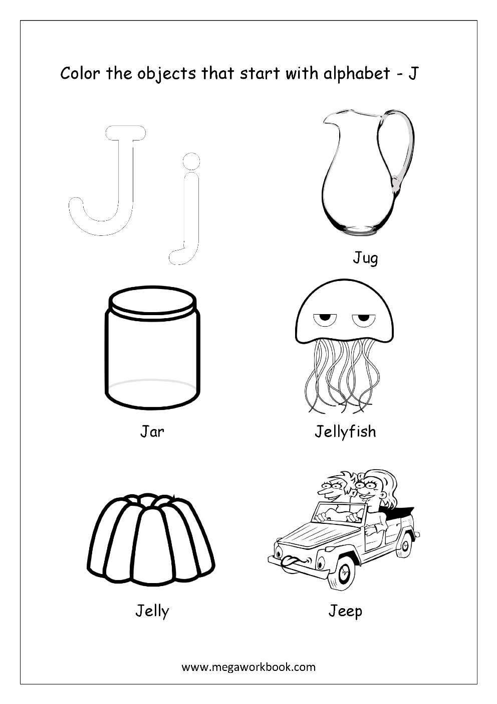 things that start with the letter j free worksheets alphabet picture coloring 477