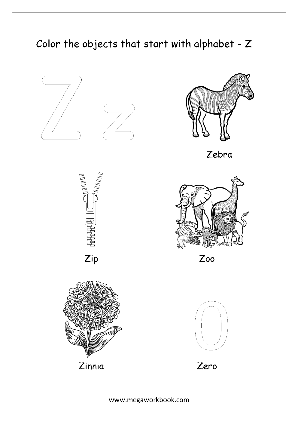 letters that start with z alphabet picture coloring pages things that start with 23394 | Color The Objects Starting With Alphabet Z