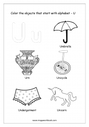 Things That Start With U - Alphabet Pictures Coloring Pages
