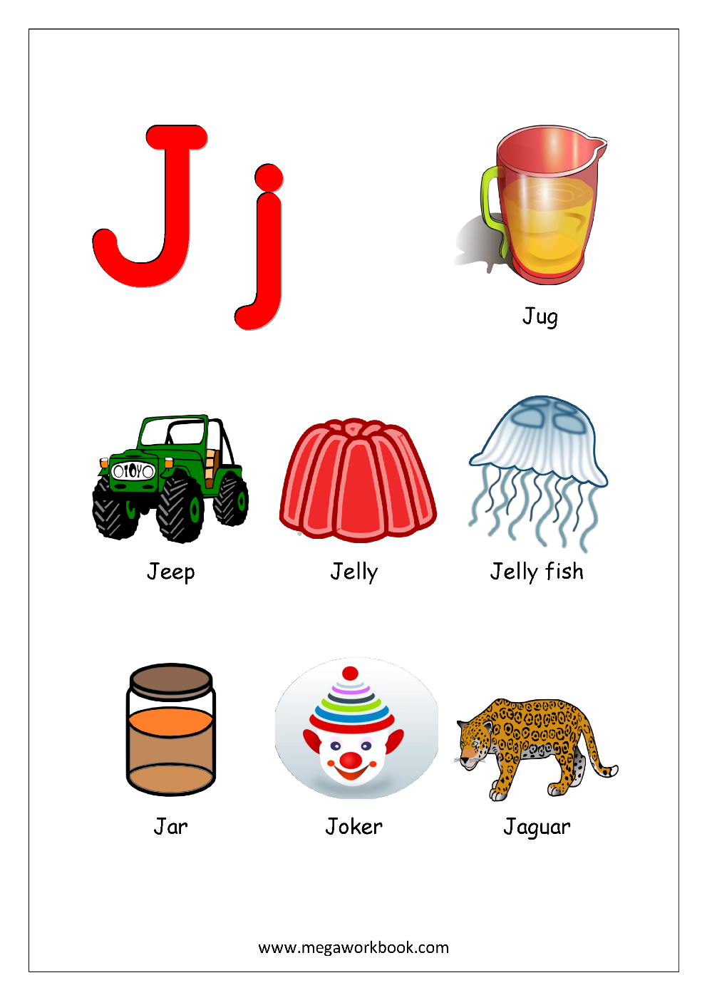 things that start with the letter j free printable worksheets alphabet reading 24432