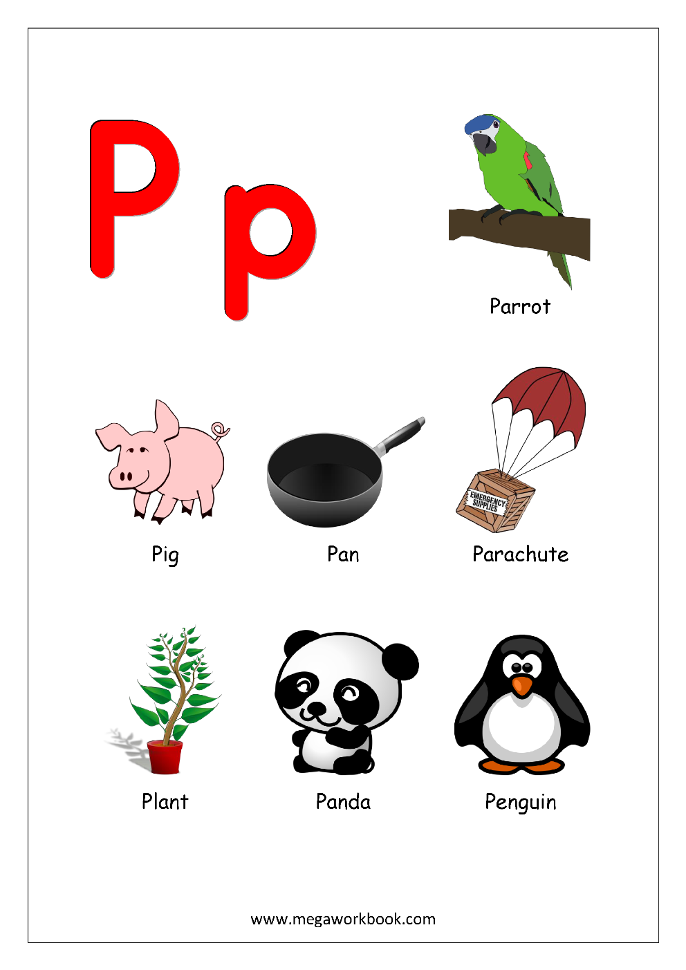 things that start with the letter p stock vector free printable worksheets alphabet reading 919