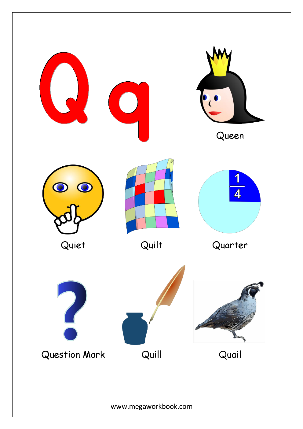 picture of objects that start with letter q crafts free printable worksheets alphabet reading 972
