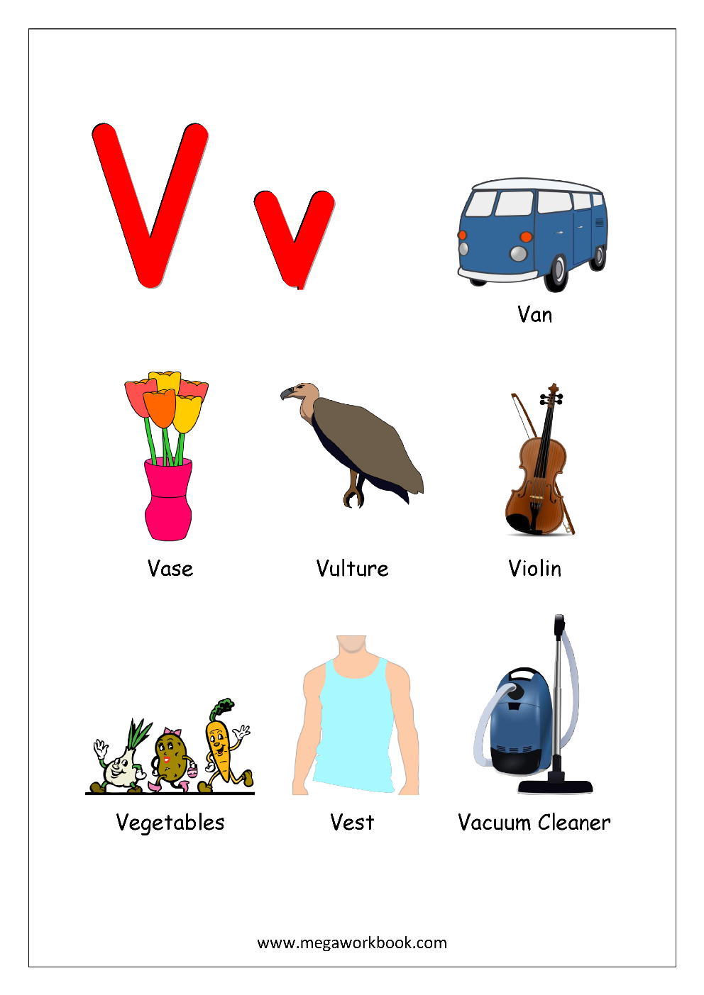 things that start with the letter v free printable alphabet reading pages things that start 25263 | Objects Starting With Alphabet V