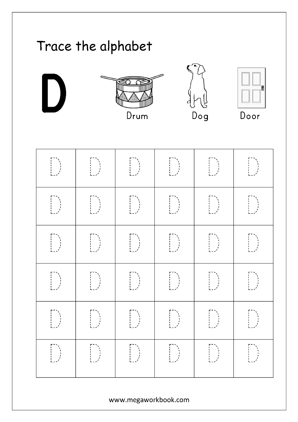 Capital Letter Tracing - Write in a Box and 4-lined Sheet