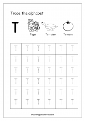 Tracing Letters - Letter Tracing Worksheet - Capital Letter T