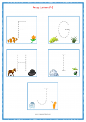 Tracing Letters - Letter Tracing Worksheets - Capital Letters - Recap F-J