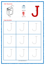 Tracing Letters - Letter Tracing Worksheets - Capital J - Free Preschool Printables