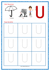 Tracing Letters - Letter Tracing Worksheets - Capital U - Free Preschool Printables