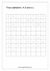 English Worksheet - Alphabet Tracing - Small And Capital Letters A-Z a-z